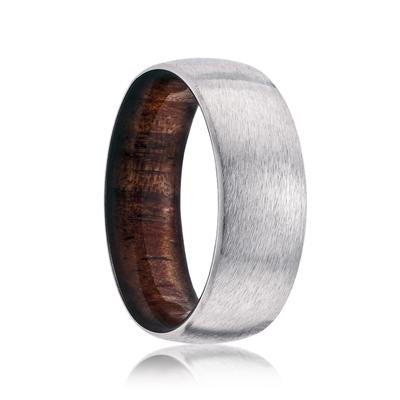 Cobalt Wedding Band with Koa Wood Liner