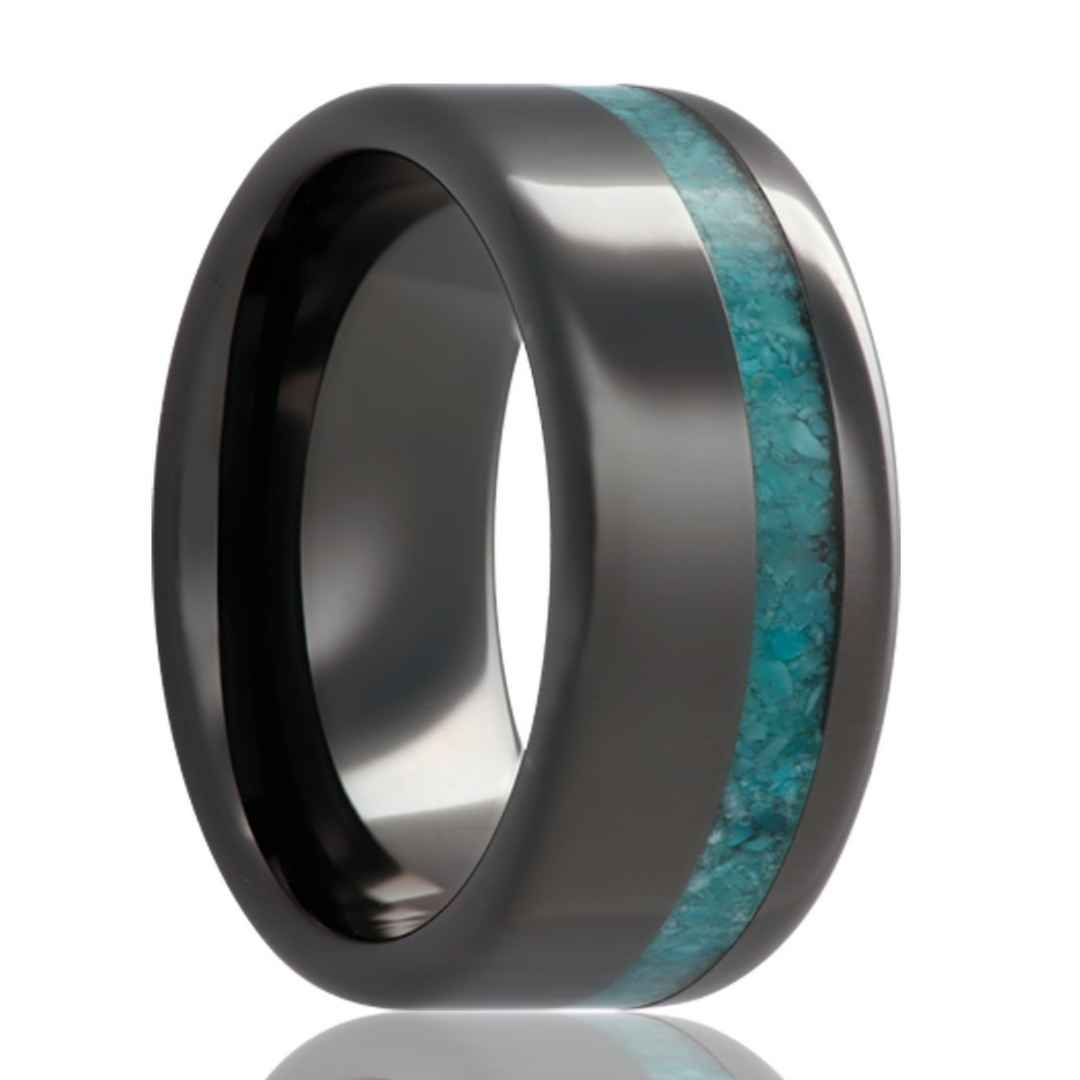 Men's black ceramic with turquoise inlay wedding ring