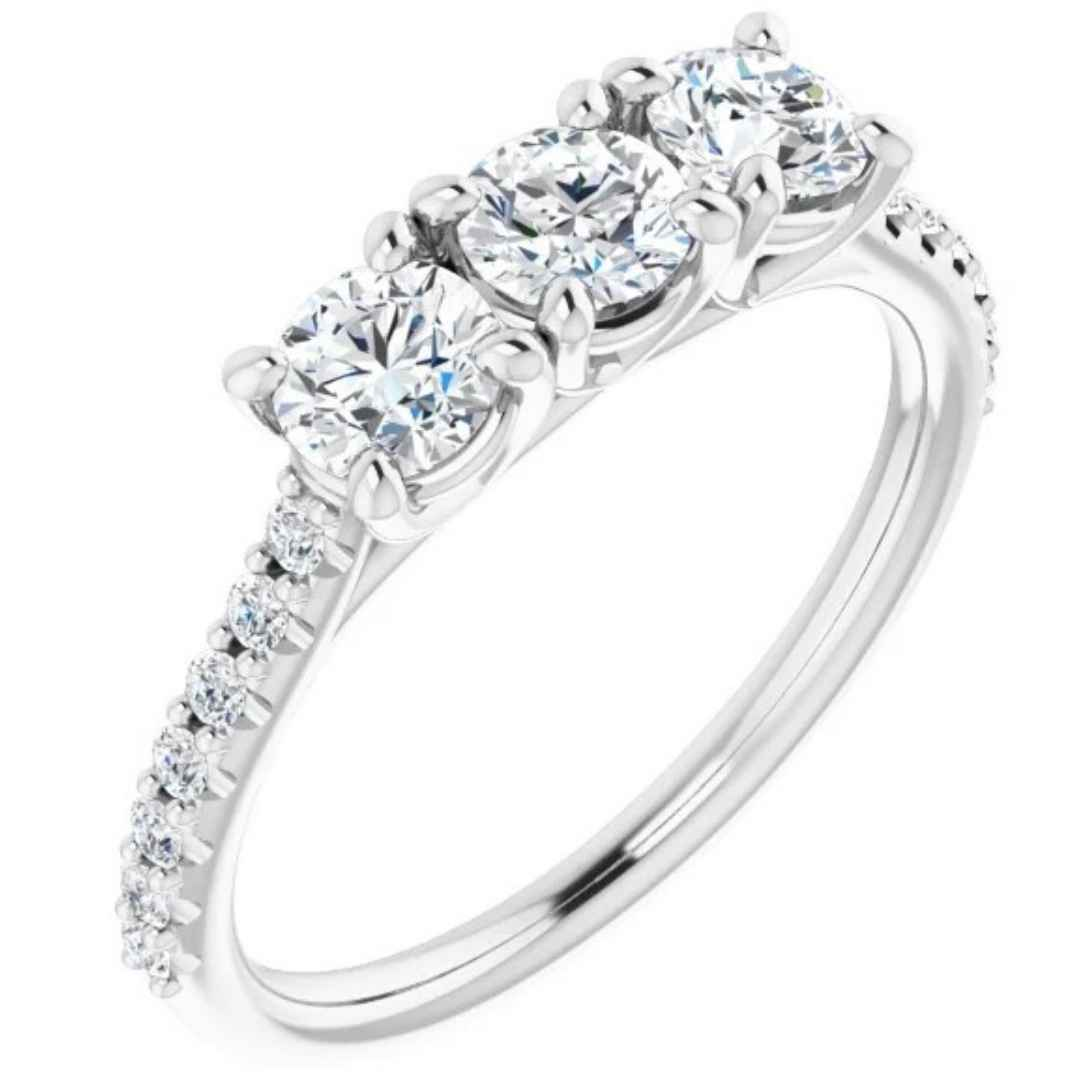 Women's three diamond engagement ring