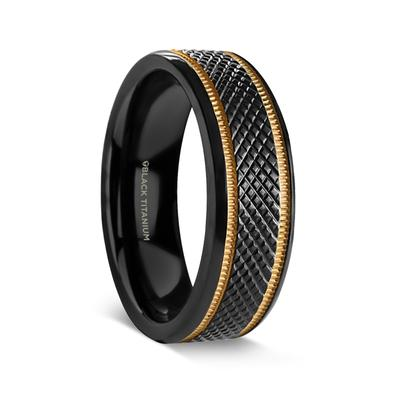 KARL | Men's Black Wedding Ring | Titanium with Knurled Pattern and Gold Milgrain Edges | 8mm