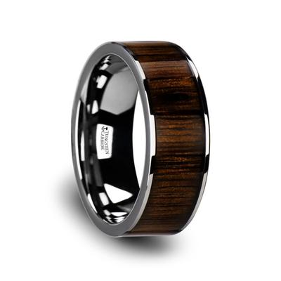 Tungsten Wedding Band with Black Walnut Inlay