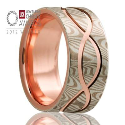 KATANA | Mokume Wedding Ring | 14k Gold and Sterling Silver | 8mm