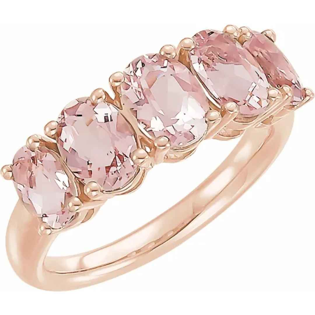 Women's 5 stone morganite wedding ring