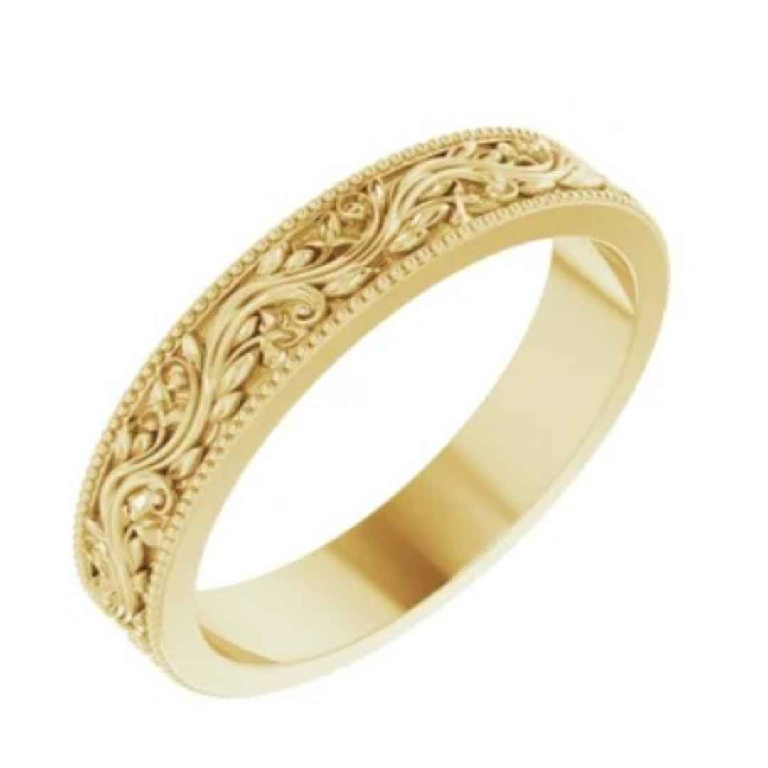 Women's 14K yellow gold filigree wedding band 4mm