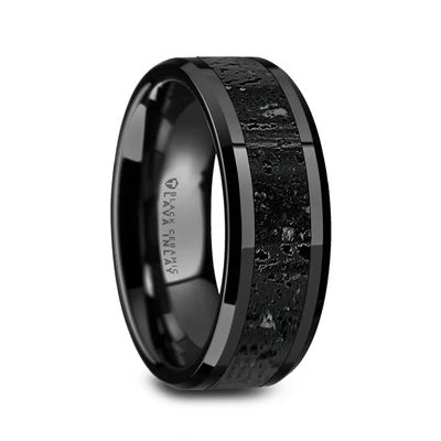Men's Wedding Ring Lava Rock Inlay