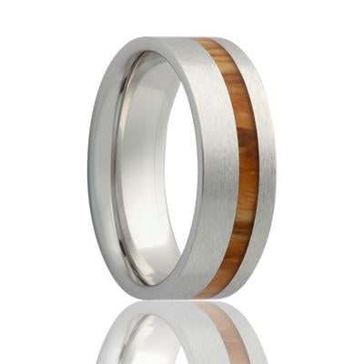 Men's Wedding Ring Cobalt Band with Koa Wood Liner
