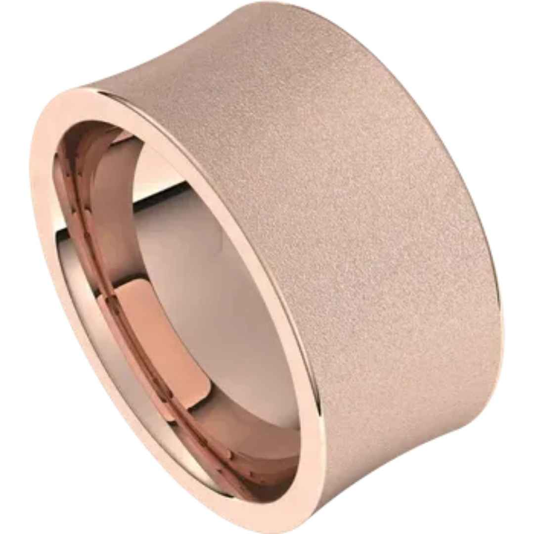 Men's 14k rose gold concaved wedding ring