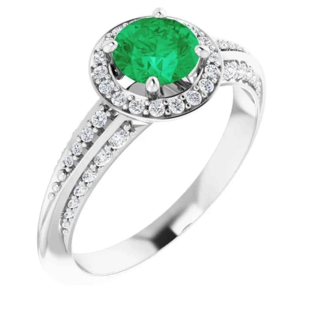 KENDALL | Women's Halo Engagement Ring | Diamond | Emerald