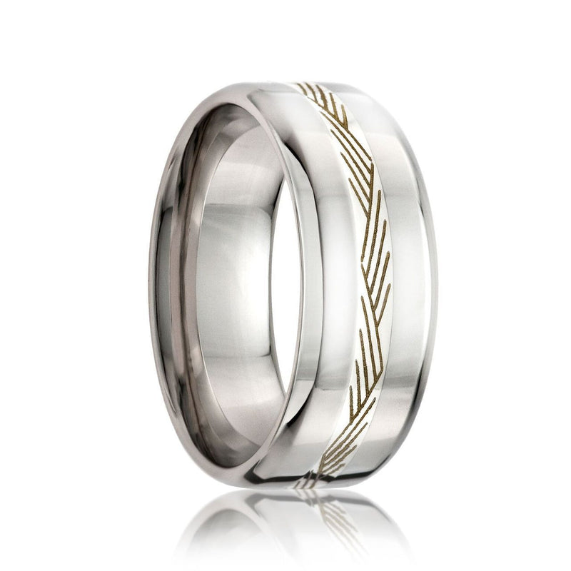 KENTE | Beveled Edge Cobalt Band w/ a 2mm Engraved Argentium Silver Inlay | 8mm - TCRings.com