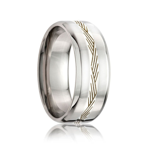 KENTE   Beveled Edge Cobalt Band w/ a 2mm Engraved Argentium Silver  Inlay    8mm