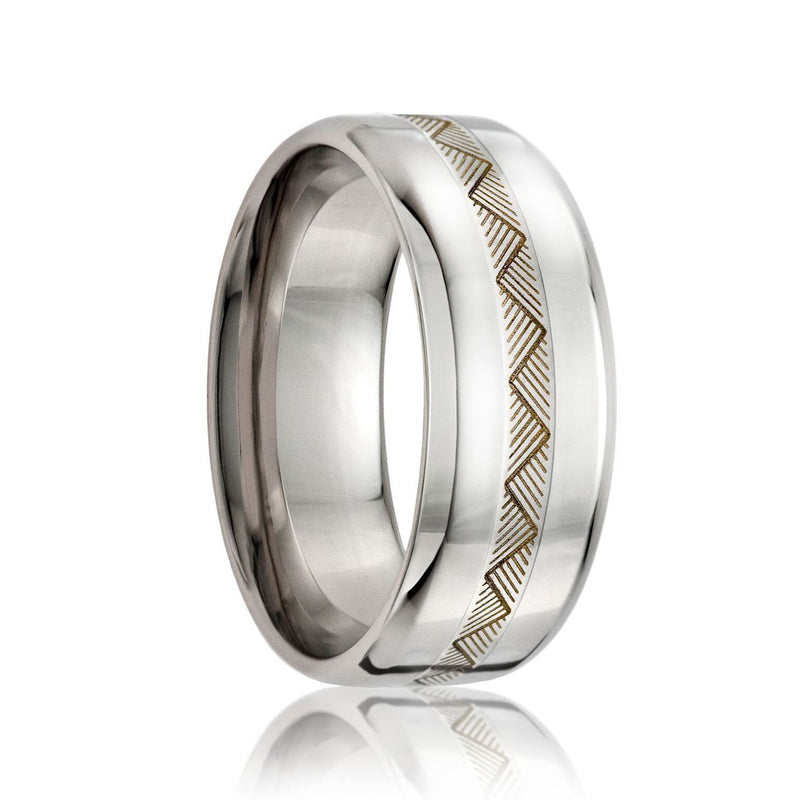 KENYA | Beveled Edge Cobalt Band w/ a 2mm Engraved Argentium Silver Inlay | 8mm - TCRings.com