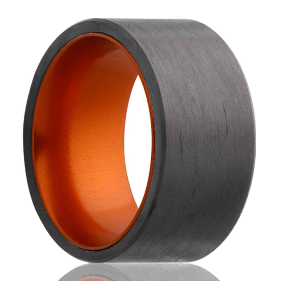 Men's carbon fiber wedding ring with orange inlay