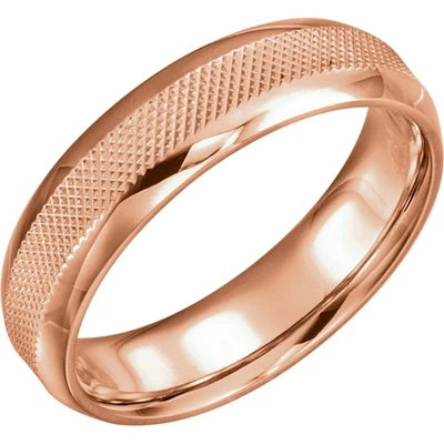 14k Rose Gold Wedding Band with Knurled Pattern