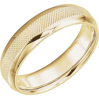 14k Yellow Gold Wedding Band with Knurled Pattern