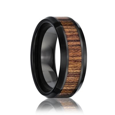 Black Ceramic Wedding Band with Wood Inlay