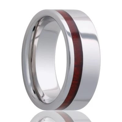 Tungsten Wedding Band with Bloodwood Inlay