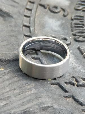 Flat Cut Wedding Ring Tungsten