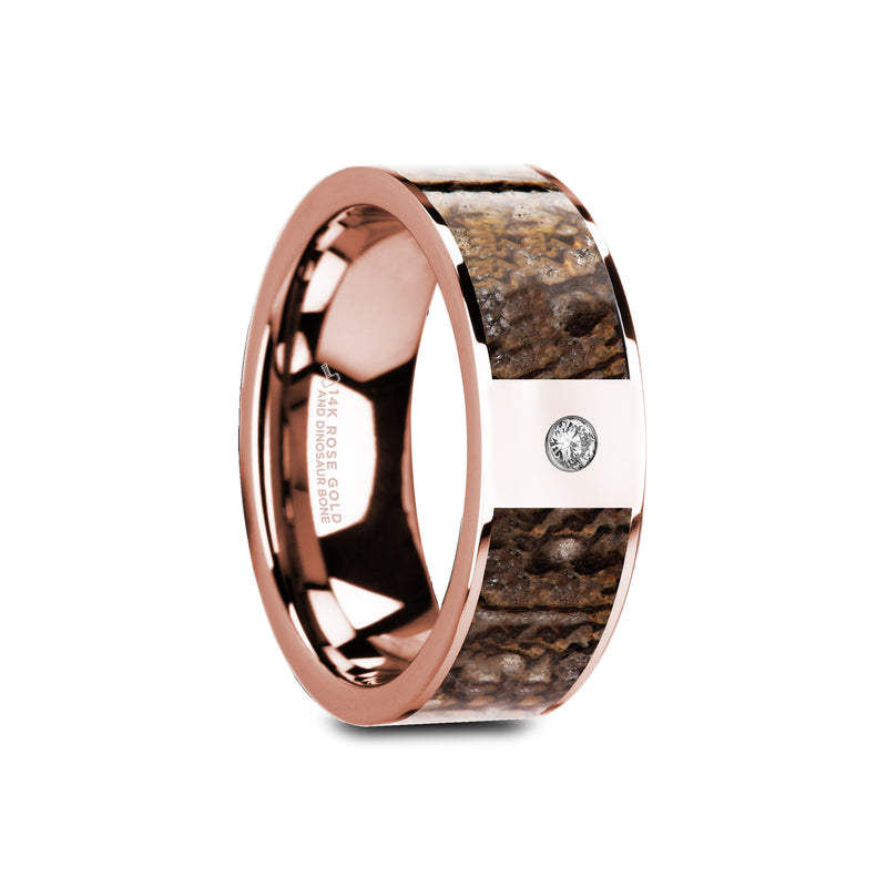 LAMBE | Flat Polished 14K Rose Gold Brown Dinosaur Bone & White Diamond Setting | 8mm - TCRings.com