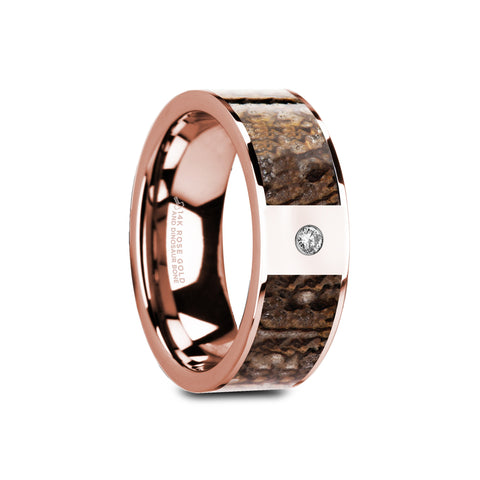 LAMBE    Flat Polished 14K Rose Gold Brown Dinosaur Bone & White Diamond Setting    |    8mm