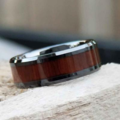 Men's Black Wedding Ring with Koa Wood Inlay