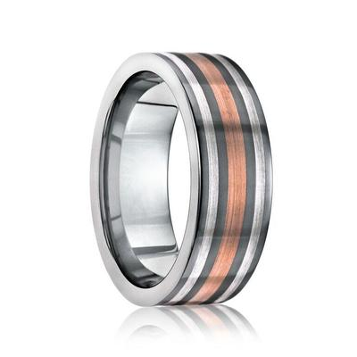 Tungsten Ring with 14k Rose Gold and Silver