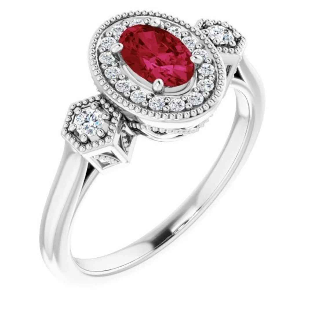 14k white gold ruby engagement ring with halo diamond setting