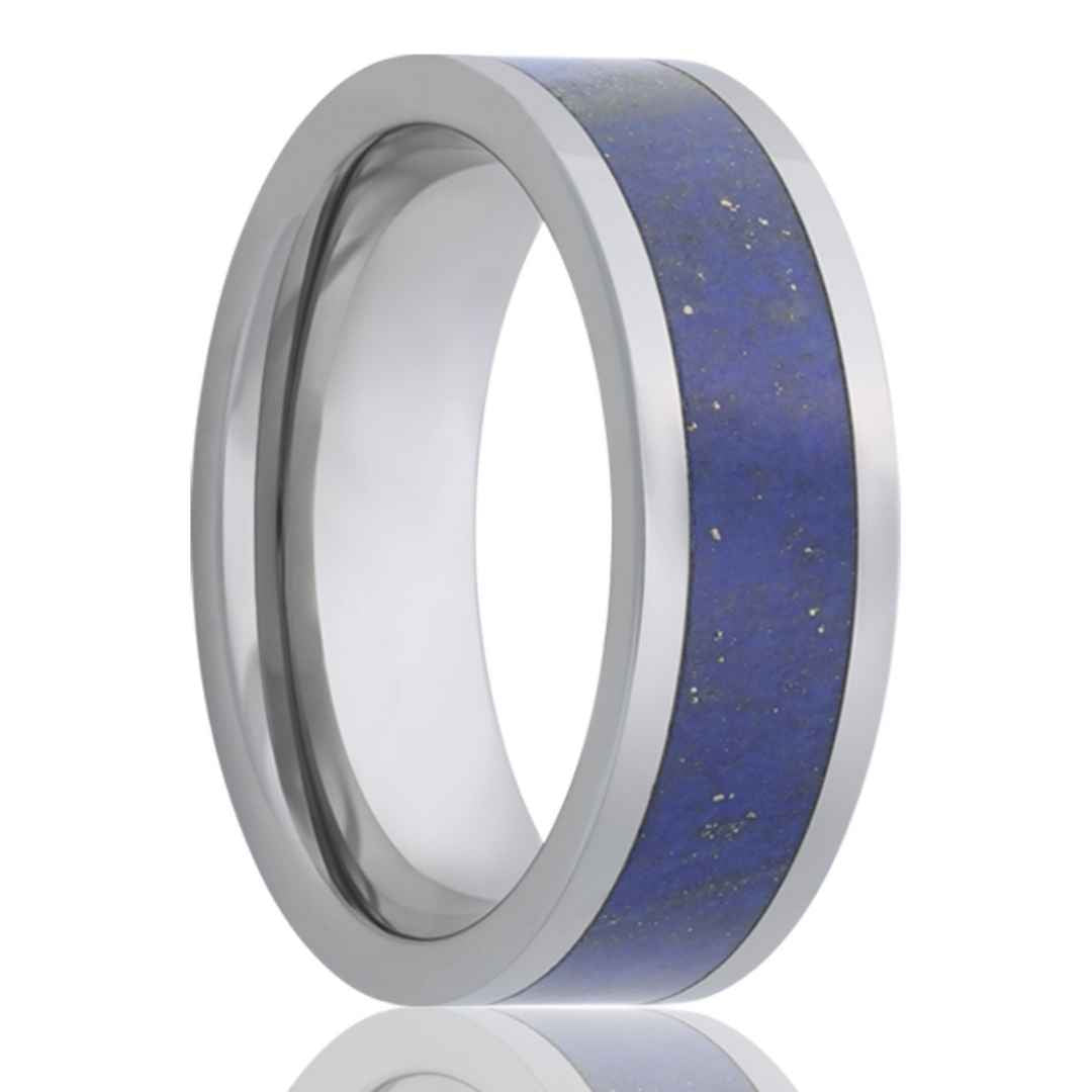 Mens blue lapis tungsten wedding ring.
