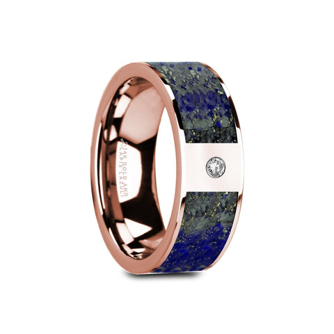 LAZUR | Flat Polished 14K Rose Gold with Blue Lapis Lazuli Inlay and White Diamond Setting | 8mm - TCRings.com