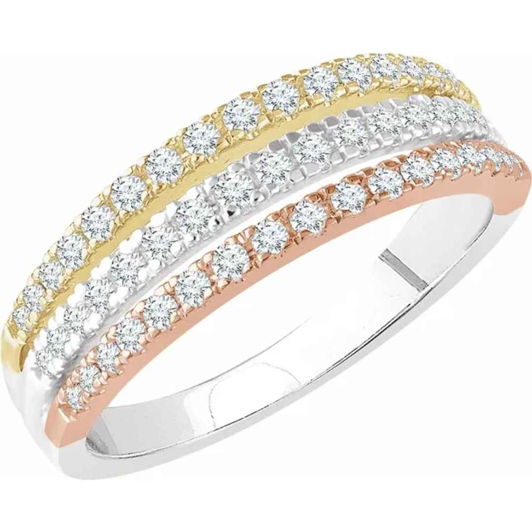 Women's tri-colored stacked diamond wedding ring