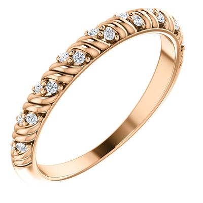 Women's Gold Wedding Band | 14k Rose Gold | White Diamonds | 2mm