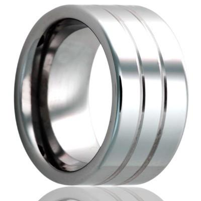 Tungsten Wedding Ring Double Grooved