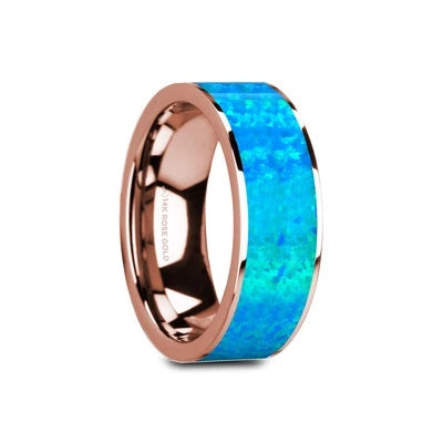 14k Rose Gold Wedding Ring Blue Opal