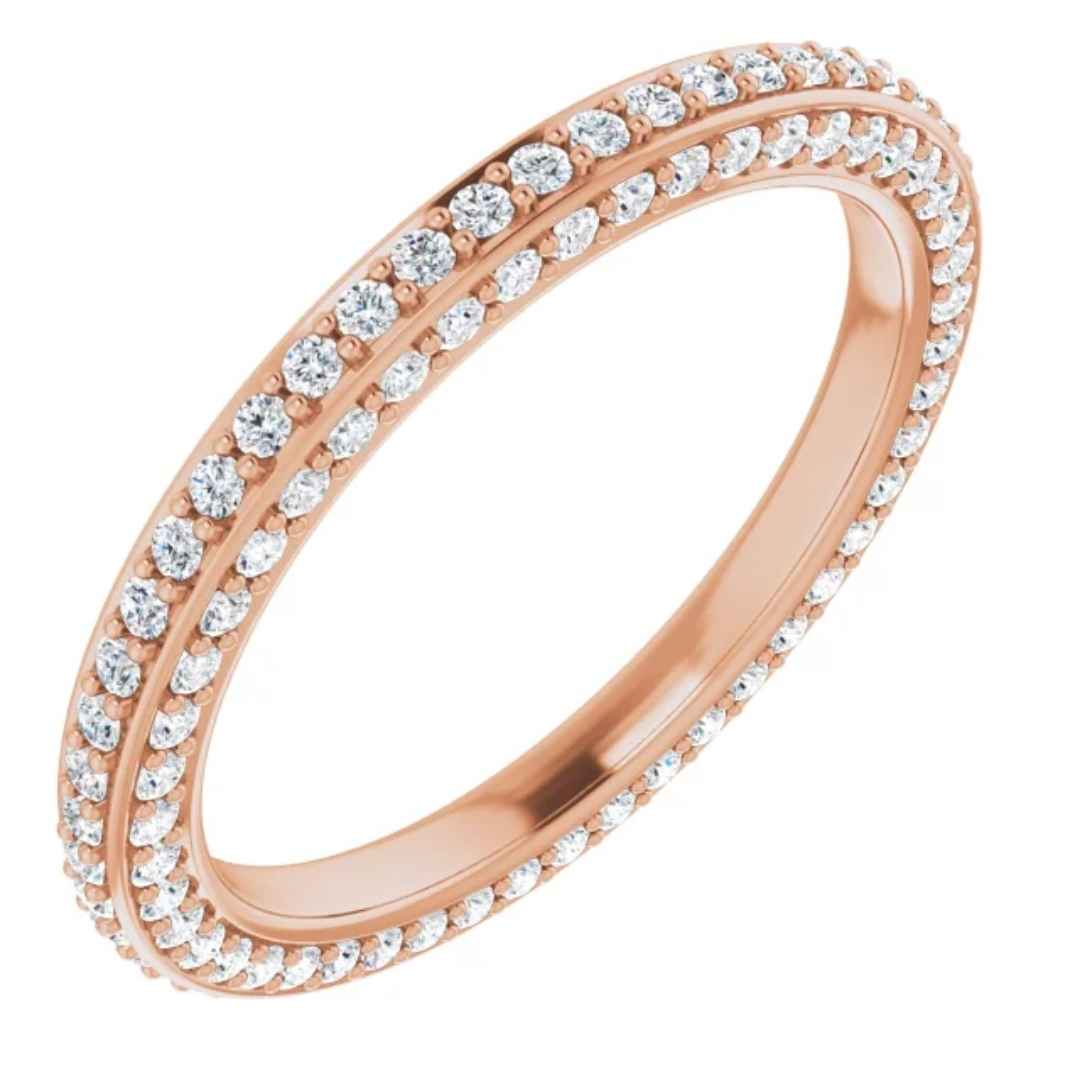 Diamond Wedding Ring | 14k Rose Gold Eternity Band