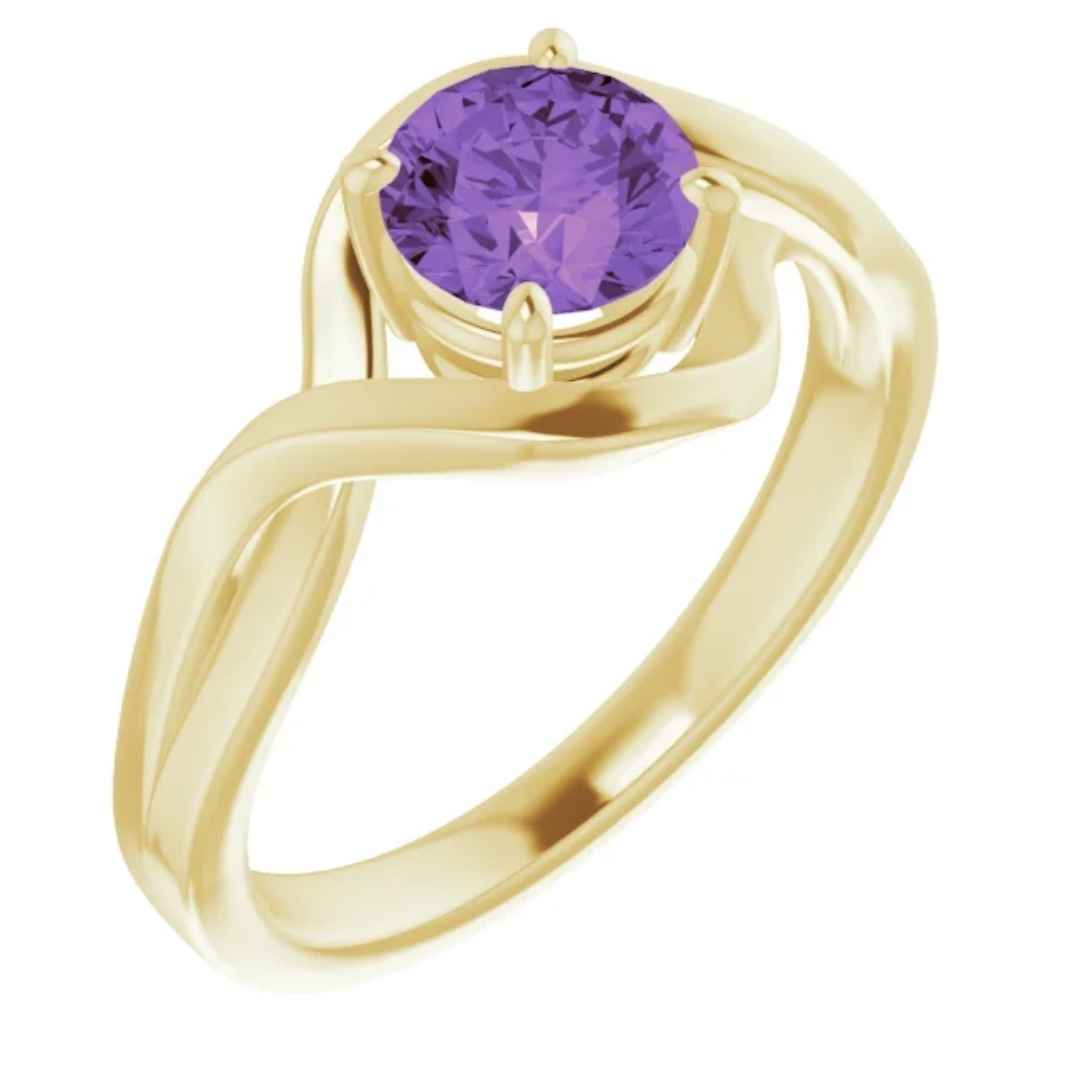 Women's 14k yellow gold amethyst engagement ring