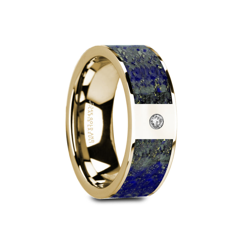 LIVORNO | Flat Polished 14K Yellow Gold with Blue Lapis Lazuli Inlay & White Diamond Setting | 8mm - TCRings.com