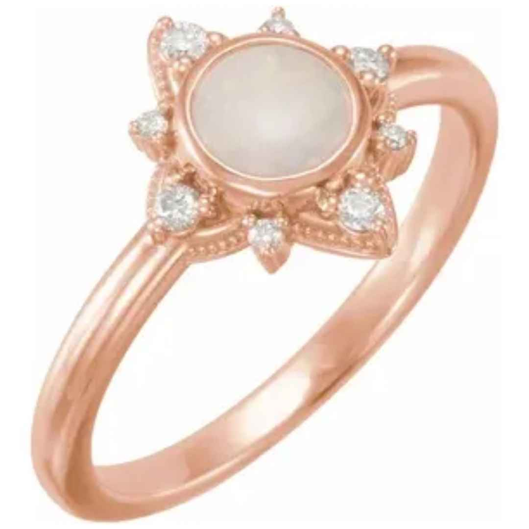 Women's 14k rose gold opal engagement ring with diamonds
