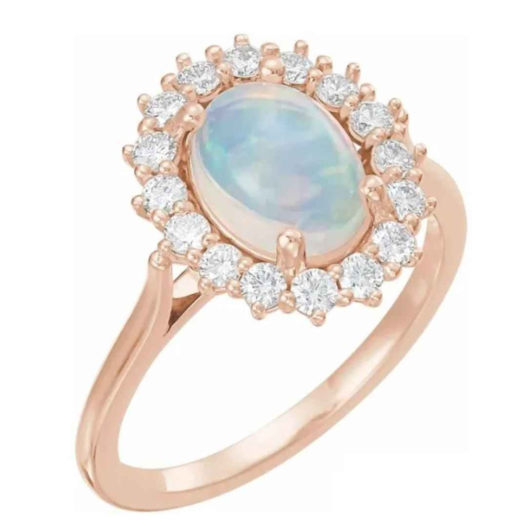 women's 14K rose gold Ethiopian opal halo engagement ring