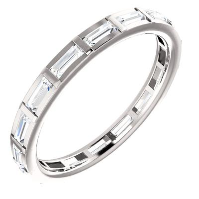 White Gold Wedding Band with Diamonds