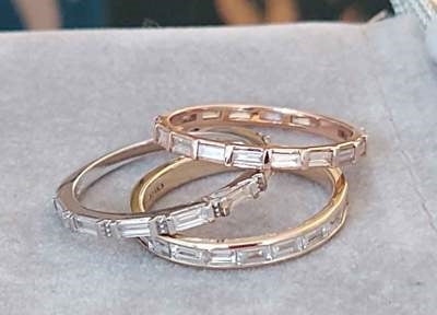 3 Gold Wedding Bands with Diamonds