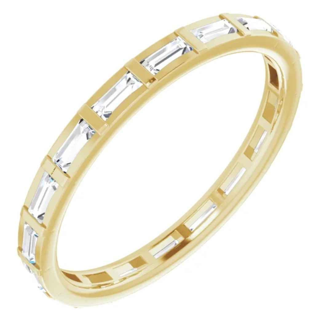 Yellow Gold Wedding Band with Diamonds