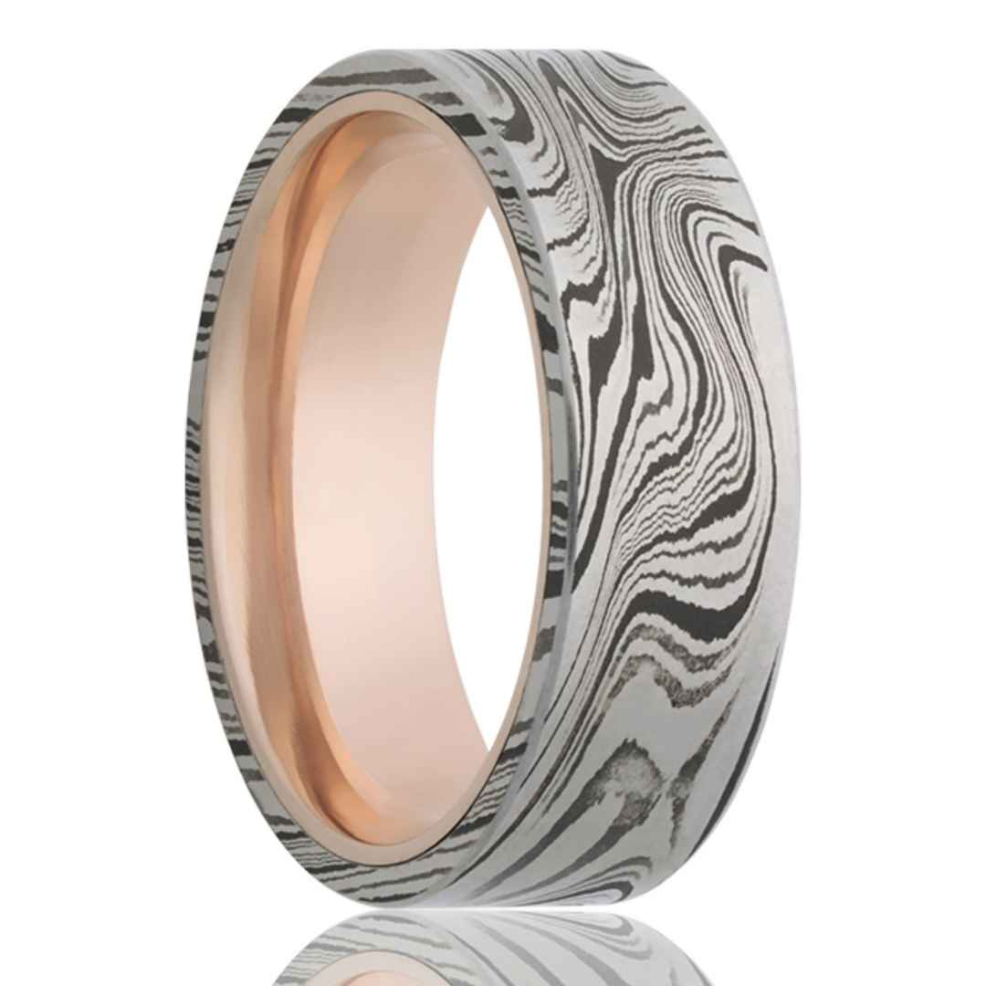 Men's 14K rose gold wedding ring with Damascus steel overlay