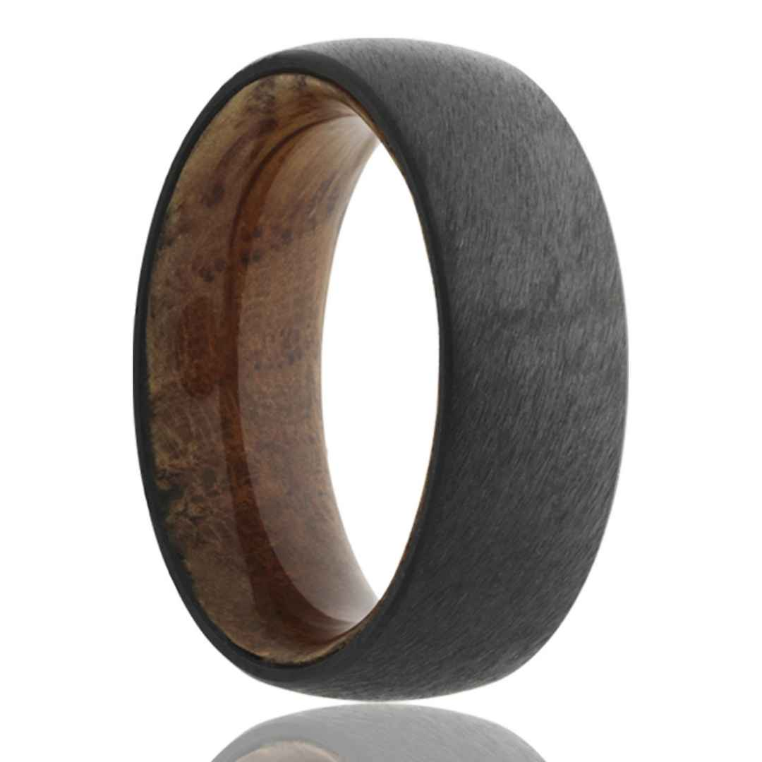 Men's zirconium with whiskey barrel wood inlay wedding ring