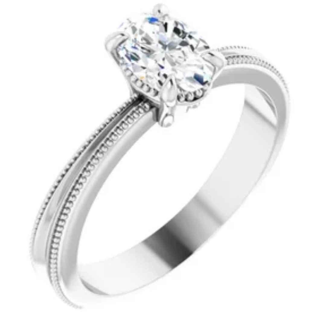 Women's 14K white gold diamond engagement ring