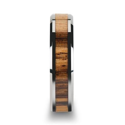 Tungsten Ring for Men with Zebra Wood Inlay