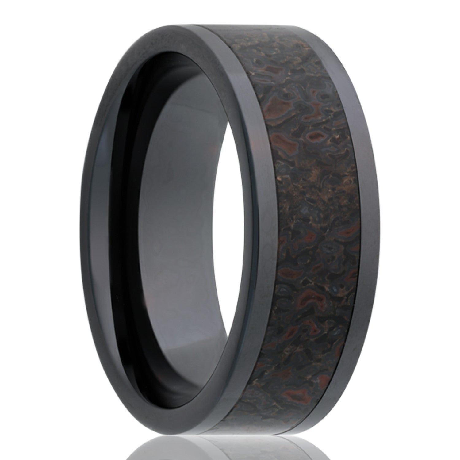 Black Ceramic Wedding Band. Dino Bone Inlay Ring. Unique Wedding Ring. tcrings.com