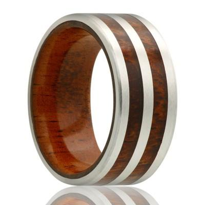 MAKANA | Men's Wedding Band | Cobalt Band with Koa Wood Liner and Inlays | 8mm