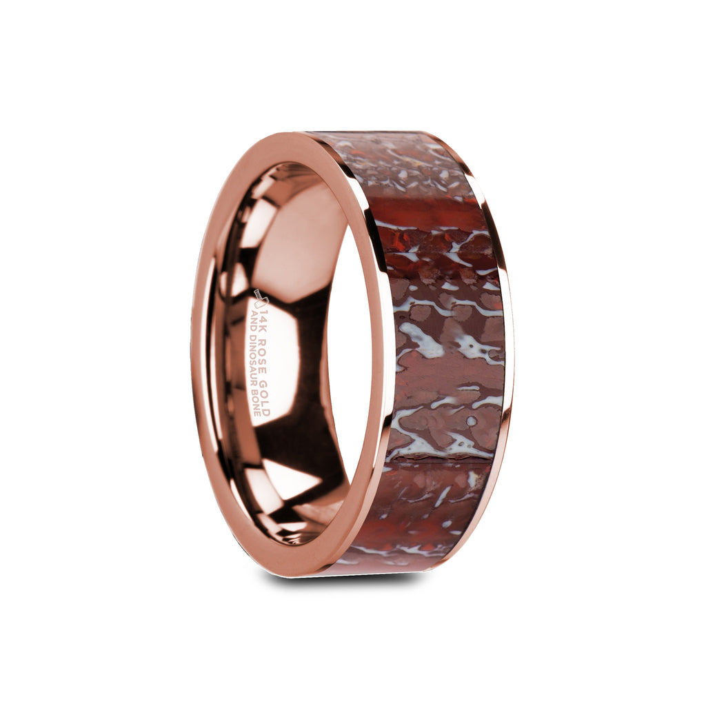 MANTELL | 14K Rose Gold Wedding Band with Red Dinosaur Bone Inlay & Flat Cut | 8mm - TCRings.com