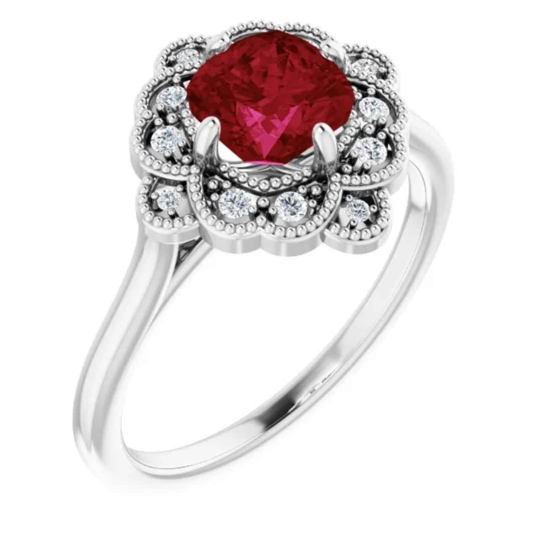 Women's 14k white gold lab created ruby vintage inspired engagement ring