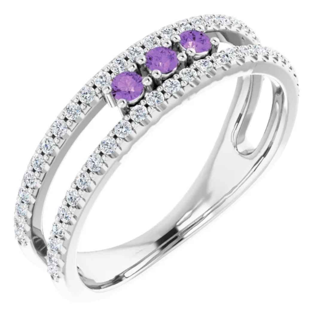 14K white gold amethyst wedding ring
