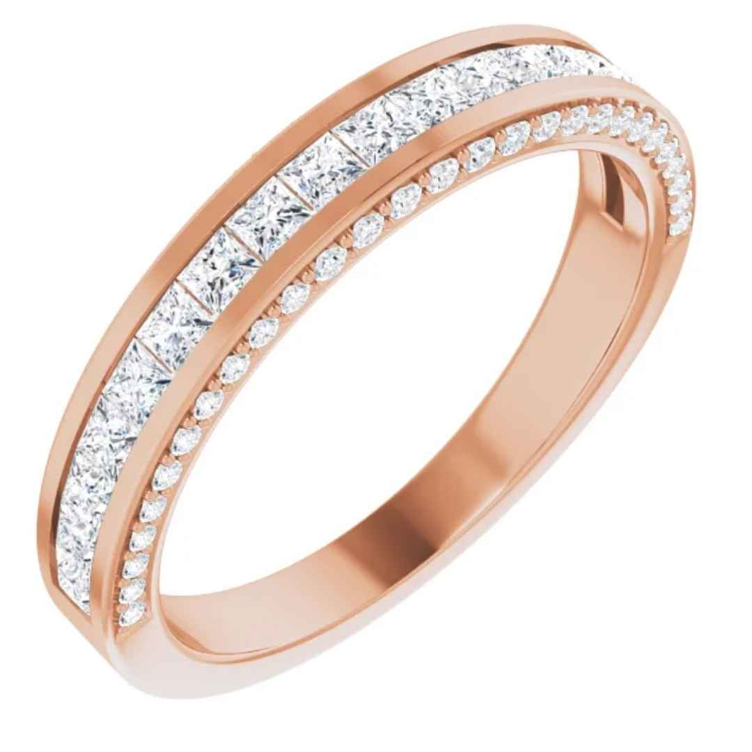 Women's 14K rose gold diamond wedding ring